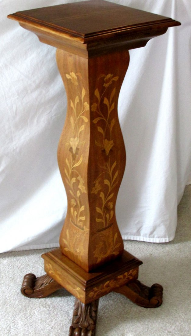 Richly Inlaid Mahogany Pedestal Stand