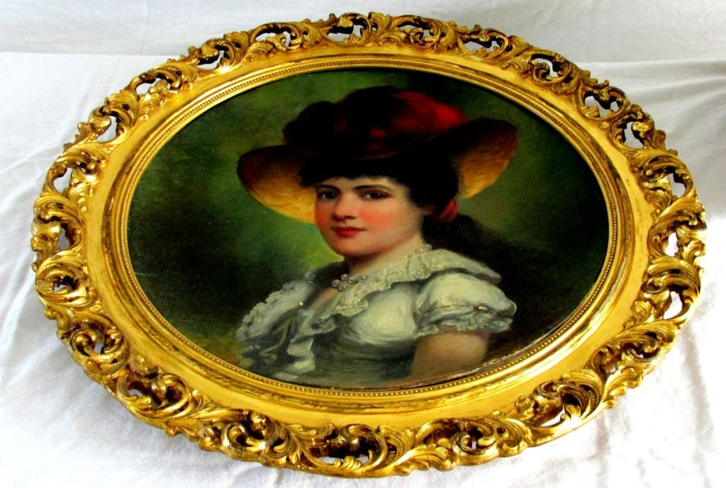 Oil Portrait of Attractive Lady w/Feathered Hat
