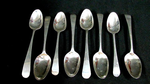 8 Assembled British Silver Sterling Spoons