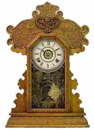 Ingraham Oak Kitchen Alarm Mantle Clock w/Fancy C