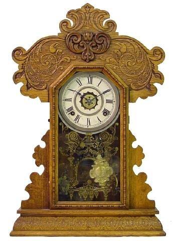 1002: Ingraham Oak Kitchen Alarm Mantle Clock w/Fancy C