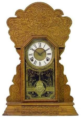 Oak 1900 Era Kitchen Clock w/Ornate Case