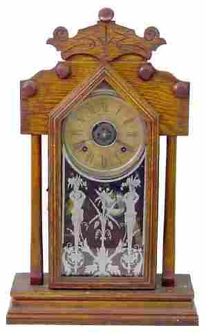 Ansonia Oak Kitchen Clock w/Alarm, Classical Figu