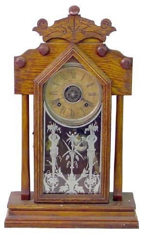 1006: Ansonia Oak Kitchen Clock w/Alarm, Classical Figu