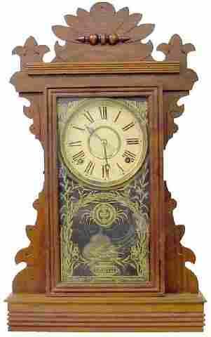 Walnut Victorian Kiitchen Clock w/Bird Flying Ove
