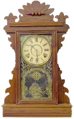 1010: Walnut Victorian Kiitchen Clock w/Bird Flying Ove