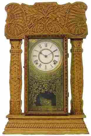 Oak Ingraham Kitchen Clock, Ca. 1900