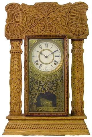 1012: Oak Ingraham Kitchen Clock, Ca. 1900