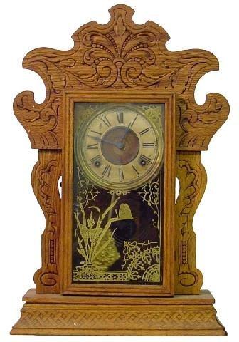 1014: Sessions No. 40 Oak Kitchen Clock w/Urn & Flowers