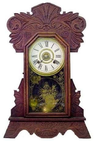 New Haven Alarm Kitchen Oak Mantle Clock, Ca. 190