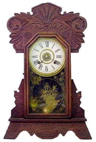1017: New Haven Alarm Kitchen Oak Mantle Clock, Ca. 190