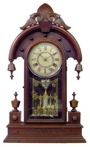1018: Elbe New Haven Walnut Victorian Kitchen Clock