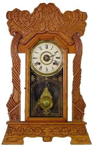 Norwich Line New Haven Oak Kitchen Clock, Ca. 190