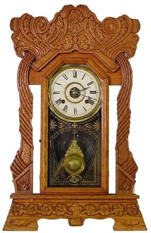1019: Norwich Line New Haven Oak Kitchen Clock, Ca. 190