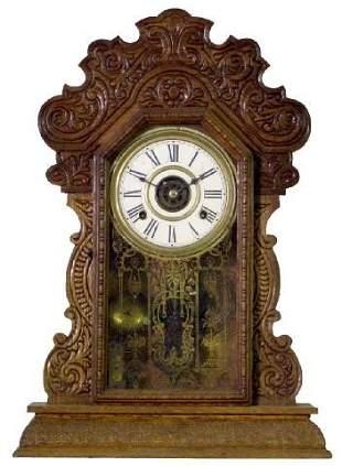 Press Carved Oak 1900 Era Kitchen Clock w/Alarm