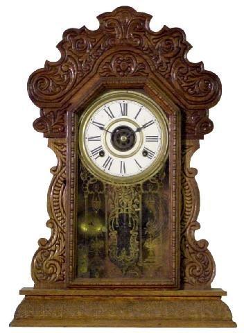 1020: Press Carved Oak 1900 Era Kitchen Clock w/Alarm