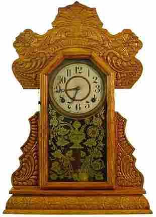 Ingraham Oak Kitchen Clock w/Heavily Press Carved