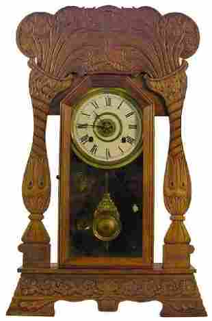Art Nouveau Poplar Case Kitchen Clock w/Alarm, Ca