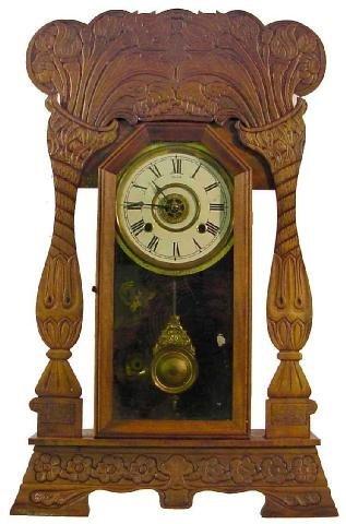 1022: Art Nouveau Poplar Case Kitchen Clock w/Alarm, Ca