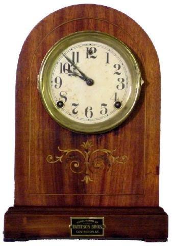 1166: Vernon Gilbert Clock Co 1905 Inlaid Mantle Clock