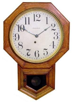 Ingraham Oak School House Clock