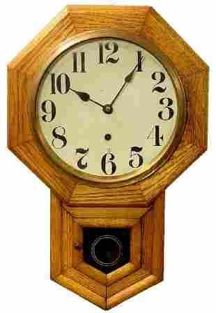 Oak Time Only School House Clock