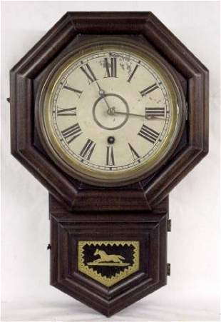 Mahogany Time Only School House Clock