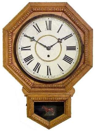 Waterbury School House Oak Wall Clock