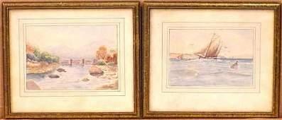 Yachting Scene & Landscape w/Bridge by Charles