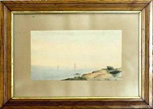 19th Century Harbor Scene by E. A. Harvey