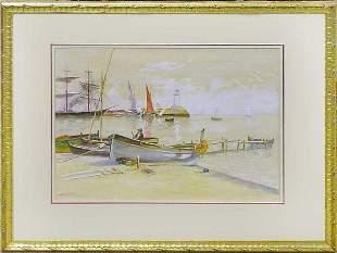 Sailboats & Tall Ships In Harbor, Arthur D' Artois