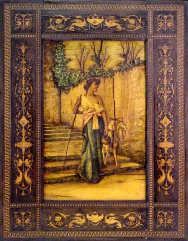 17: 19th Century Marquetry Painting of Lady in Garden w