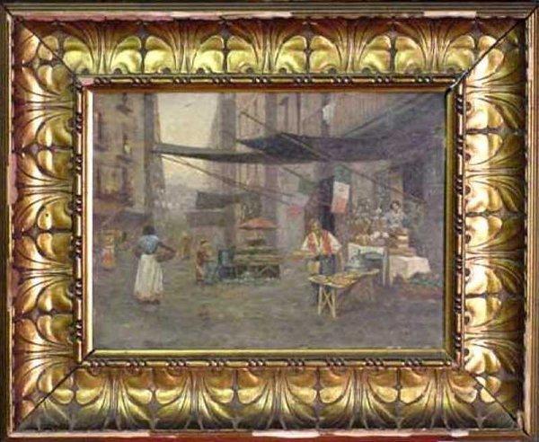 18: 19th Century Italian Street Scene w/Pizza Seller