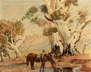 1950s Cowboy Watering Horse Scene by Gazhorn Unswor