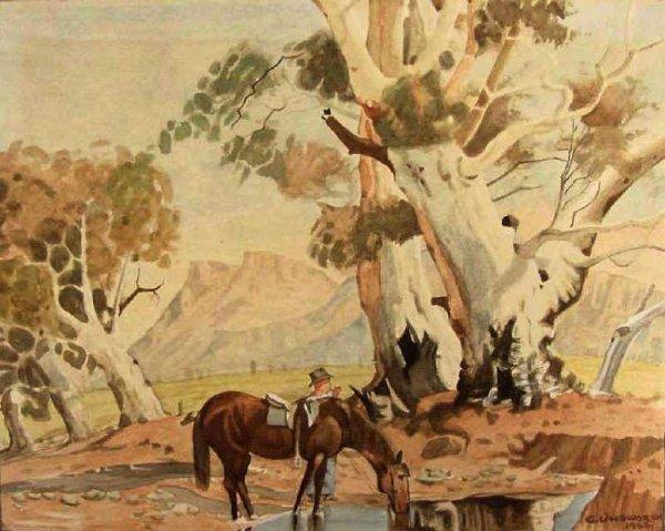20: 1950s Cowboy Watering Horse Scene by Gazhorn Unswor
