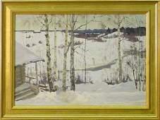 32: Siberian Cabin In Winter Snow, Russian, 20th Centur
