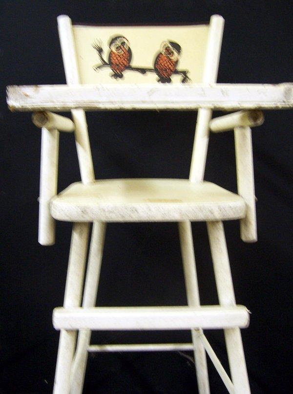 386: Wood doll high chair