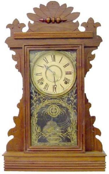 4: Walnut Victorian Kiitchen Clock w/Bird Flying Over U