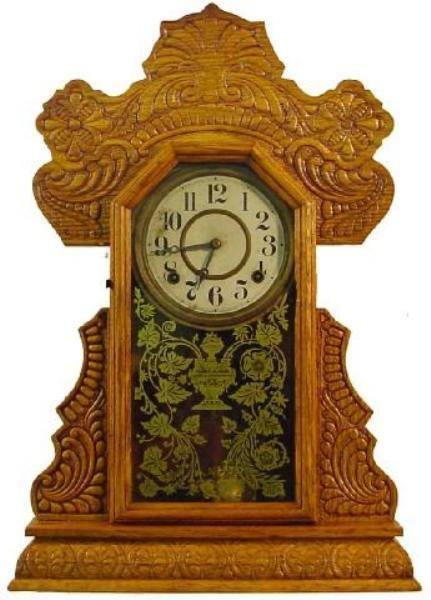 5: Ingraham Oak Kitchen Clock w/Heavily Press Carved Ca