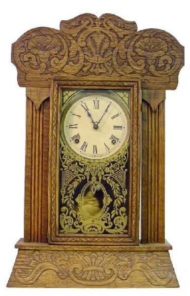 6: Oak Ingraham Kitchen Clock w/Press Carved Flowers