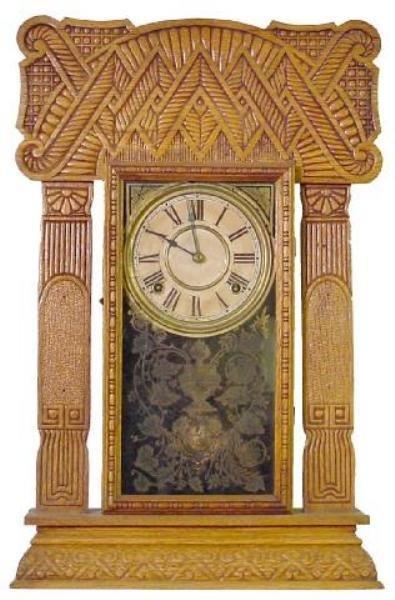 9: Ingraham Oak Herringbone & Cane Ornate Kitchen Clock