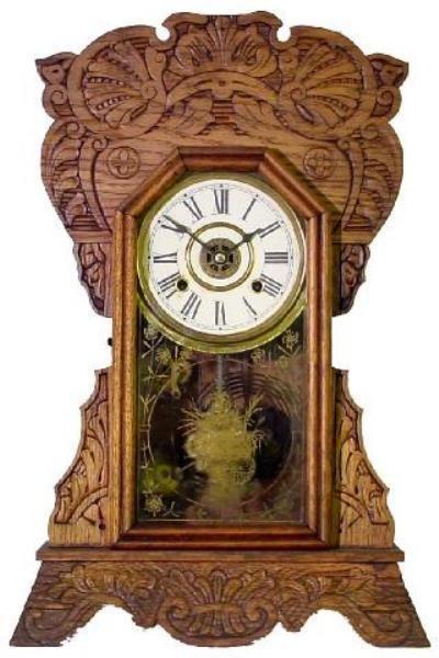 10: Oak Kitchen Clock, Ca. 1900, Press Carved Design
