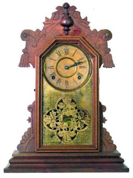 13: Walnugt Victorian Kitchen Clock w/Press Carved Tass