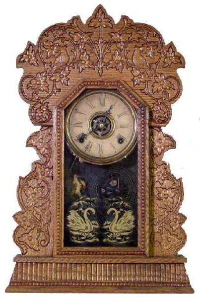 14: Gilbert Oak Kitchen Alarm Clock w/Bird Motif, Ca. 1