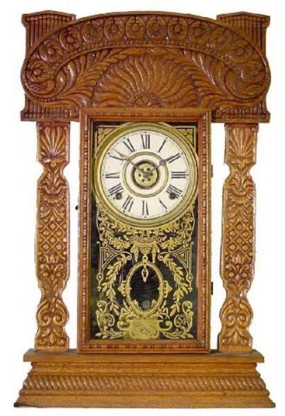 19: Ingraham Oak Alarm Kitchen Clock w/Extremely Ornate