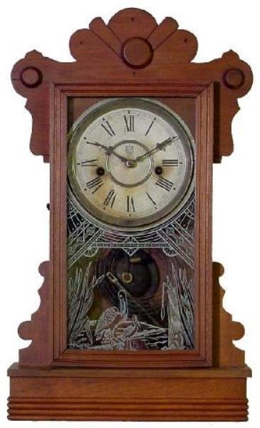 21: Waterbury Walnut Victorian Kitchen Clock w/Cranes O