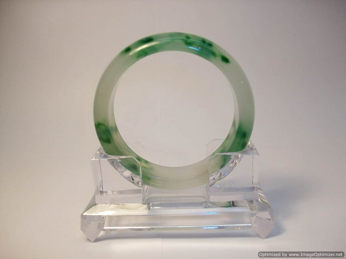 Chinese Green and White Jadeite Bracelet