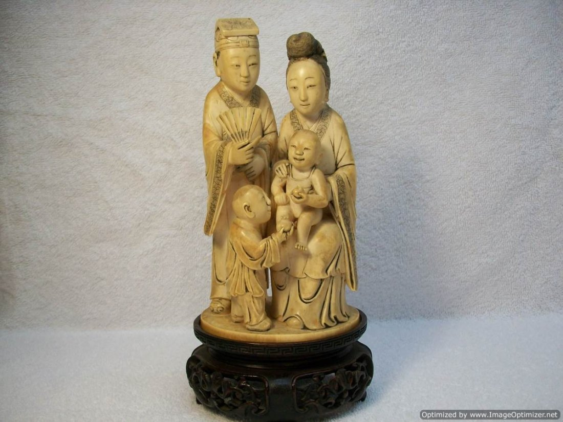 Chinese Antique Ivory Carving of a family