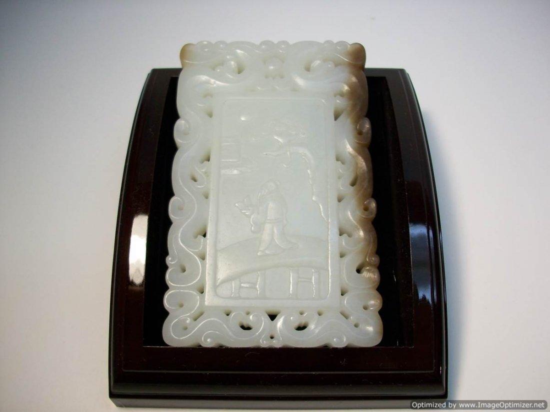 CHINESE WHITE JADE LARGE PENDANT