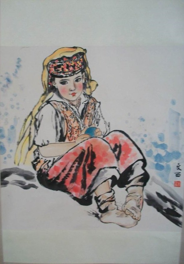 CHINESE PAINTING OF A GIRL